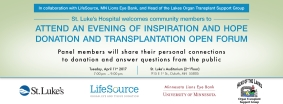 Invitation for an Evening of Inspiration and Hope Donation and Transplantation Open Forum